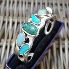 STERLING SILVER BANGLE, TURQUOISE AND GEMSTONES, OPEN CUFF BANGLE, HEAVY