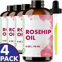 Organic Rosehip Oil 16oz (4x4oz)  Skin Moisturizer Scar Removal VALUE PACK