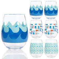2pk C.R. Gibson Stemless Acrylic Wine Glasses Drinkware Nautical Ocean Theme
