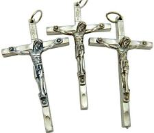 "MRT 3 Silver Plate Traditional Pectoral Crucifix Pendant Catholic Cross 2"" Italy"
