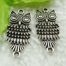 Free Ship 80 pieces tibet silver owl connector 28x13mm #1476
