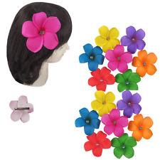 "12pc Hawaiian Hawaii Bridal Wedding Stone Plumeria Foam Flower Hair Clips 4"" Lot"
