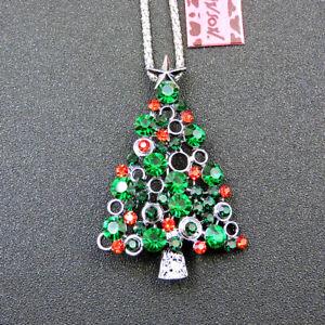 Betsey Johnson Green Crystal Hope Christmas Tree Pendant Necklace/Brooch