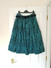 Hell Bunny 40s 50s Knee Length Skirt Sherwood Woodland Forest w/ Belt S 8/10