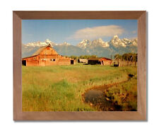 Historic Old Wood Barn In The Grand Teton Wall Picture Honey Framed Art Print