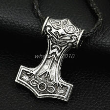 Myth THOR'S HAMMER Norse Magick Mjolnir Viking Pendant Genuine Leather Necklace