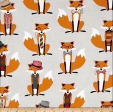 Fox and The Houndstooth Foxes Grey 100% Cotton Half Yard 45cm x 110cm