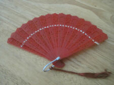 Vintage Miniature Doll Size Red Hand Fan. Lace Look. Celluloid Plastic