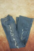 "Premium By Rue 21 Distressed Flare Blue Denim Jeans Womens Size 5/6 29""Waist"