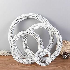 DIY Craft Blank Wicker Wreath Christmas Decoration Rattan Ring White Garland