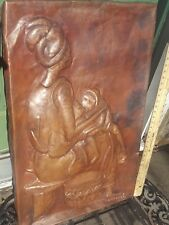 SIGNED KALUMBA 68 COPPER HAMMERED AFRICAN WALL HANGING PANEL MOTHER CHILD MCM