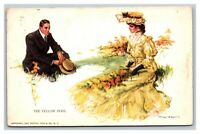 Vintage 1909 Postcard The Yellow Peril - Woman in Yellow Dress in the Park