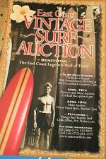 Vintage Surf Surfboard Auction East Coast Longboard Pig Surfing 11x17in. Poster
