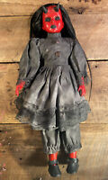 "Scary Creepy OOAK Horror Doll - 18"" Red Girl With Horns, Black Dress - Devil"