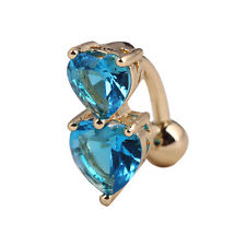 Reverse Crystal Bar Belly Ring Gold Body Piercing Button Navel Two Heart