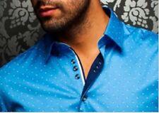Au Noir Valenti Print Men's Dress Shirt Blue Small Long-sleeve Slim-fit New $205