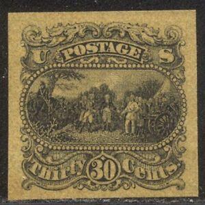 U.S. #121-E1p Unused Essay - 1869 30c Black on Yellow ($275)