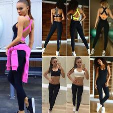 Women's Yoga Gym Fitness Crop Tops Leggings Pants Running Jumpsuit Sport Wear AU