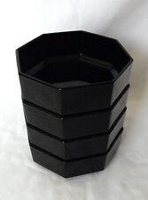Arcoroc Octime Black Glass Bowls Set of 4 Soup Cereal Salad FRANCE Octagon VTG