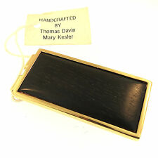 Davin & Kesler Ebony Brass Money Clip Handmade in USA Black Wood Handcrafted New