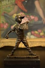 Bronze Sculpture youth baseball Player Figurine boy Pitcher Statue, Signed: Nick