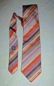 Versace Pink Regimental Striped 100% Silk Tie Made in Italy