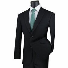 VINCI Men's Black 2 Button Peak Lapel Modern Fit Business Suit NEW