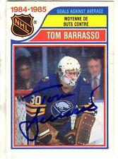 Autographed 1985-6 Topps OPC Tom Barrasso Buffalo Sabres card# 263 w/ COA