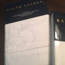 2 Ralph Lauren BAILEY TUXEDO PARK KING White Sham Pair Jacquard Paisley FreeShip