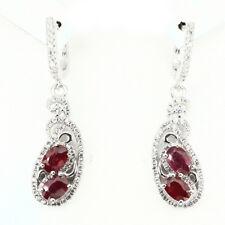GENUINE Oval 6x4 MM.TOP BLOOD RED RUBY & W. Cz 925 Sterling Silver DROP Earrings