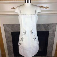 New MARITHE + FRANCOIS GIRBAUD Womens 10 US Cream Textured Snap Button Dress