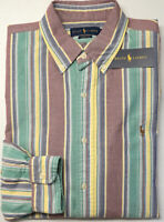 Orig $89 Polo Ralph Lauren Shirt Long Sleeve Oxford Mens Striped Classic