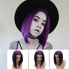 Two Tone Purple Swiss Lace Front Short Wig Bob Synthetic Raven Wig