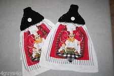Two Crochet Top Hanging Kitchen Towels Chef Spagetti Black White Red