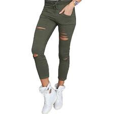 Damen Denim Skinny Hosen Hohe Taille Stretch Jeans Jeggings Treggings Leggings