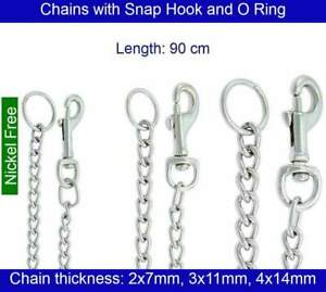 Steel Chain with Snap Hook and Ring - Length 90 cm - Chrome Plated - Nickel Free