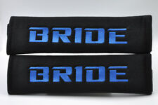 Embroidery Blue on Black Bride Racing Logo Seat Belt Cover Shoulder Pads Pairs