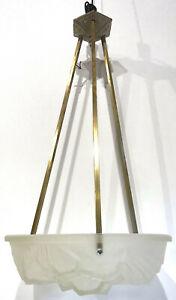 Lustre suspension art déco 1930 vasque en verre pressé moulé H.Mouynet Degué