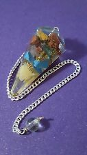 Orgonite Point Dowsing Pendulum with 7 Chakra Crystals in Orgone with Pouch   s3