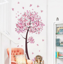 Pink Butterfly Flower Tree Wall Stickers Decals Girls Women Flower Mural Vinyl