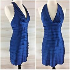 BCBG Max Azria blue bandage halter bodycon dress party sexy chic 4 S