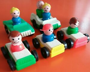 Vintage Fisher Price 6 Little People 5 Vehicle Car Double Seat Bundle Retro Toy