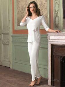 Damen Schlafanzug creme 3/4 Arm Ausschnitt mit Chiffonkragen Viskose pflegeleich