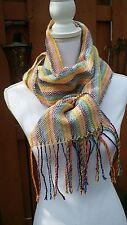 Beautiful handwoven spring rainbow scarf