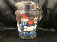 Vintage Clear Glass Red White Blue Schooner Boat Ship Water Pitcher