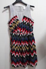 NEW Esley Women's Multicolor/ Jr. Small/ Tribal Pleated Chiffon Sleeveless Dress