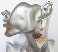 Gorgeous WHITE Enamel Look Triangle Dangle Earrings 7.5 cms DROP on Gold Tone