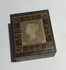 TUNBRIDGE WARE STAMP BOX GENUINE QUEEN VICTORIA 1841 1D RED STAMP ON LID