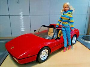 großes Barbie Auto Ferrari 328 GTS , Sammlerzustand mit allen Teilen + Puppe