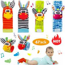 4X Baby Socken Rassel Set Sinnes Spielzeug Fußsocken Handgelenk Rasseln Armband